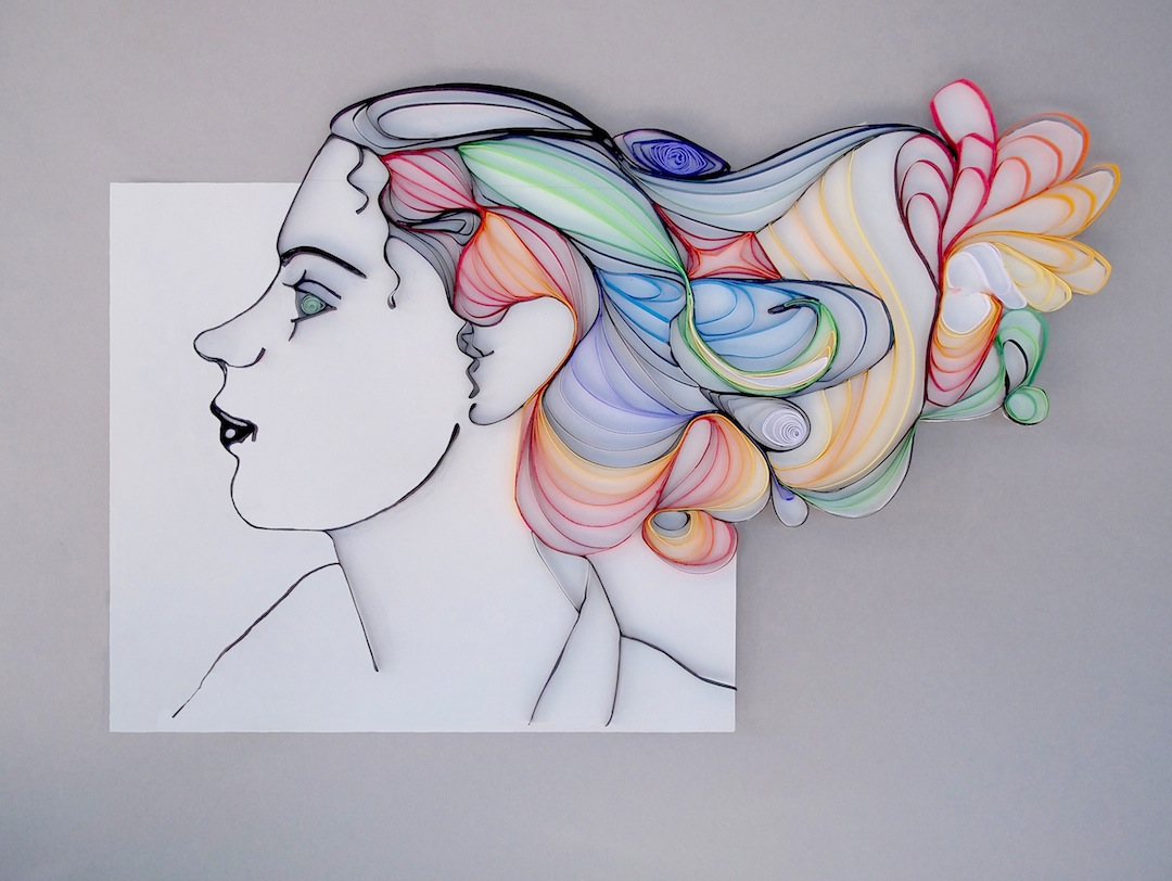 head with colorful hair