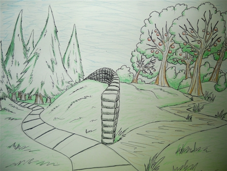 hand drawn picture of two roads