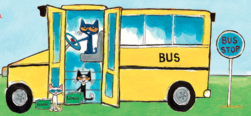 Pete the Cat is driving a school bus.