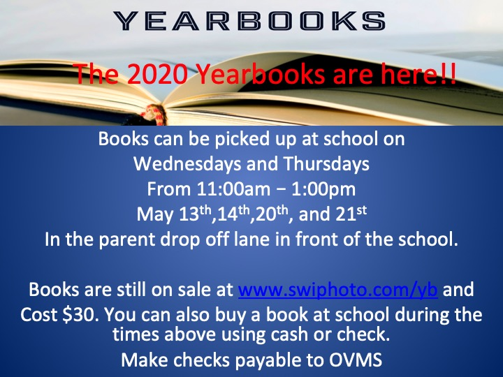 OVMS Yearbook Pickup Information