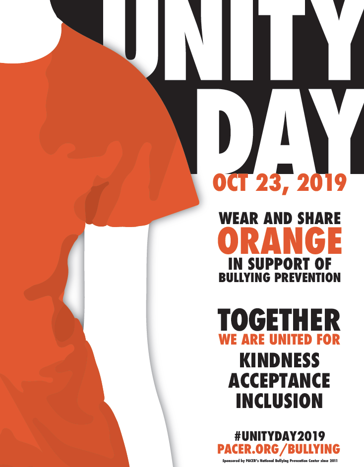 Unity Day is October 23rd be sure to wear orange to show that you are united against bullying