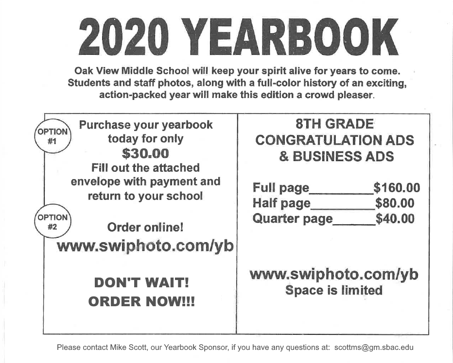 OVMS Yearbooks cost $30