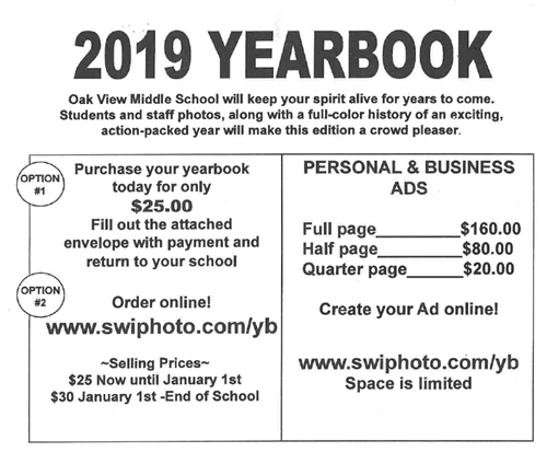 This is the top of the OVMS Yearbook Order Form