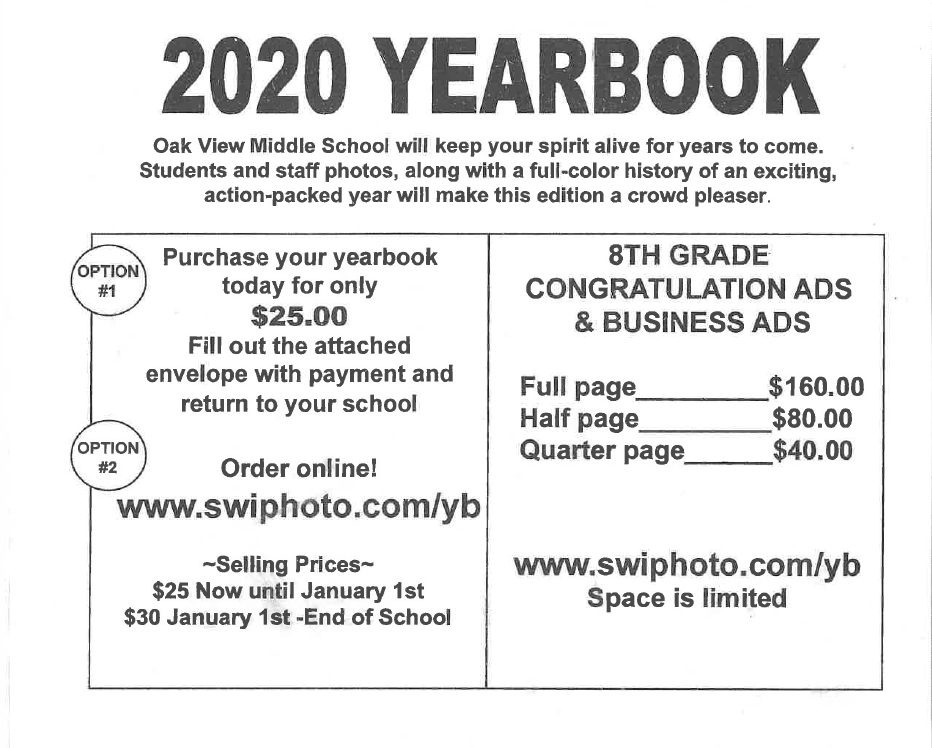 2020 Yearbook Pricing